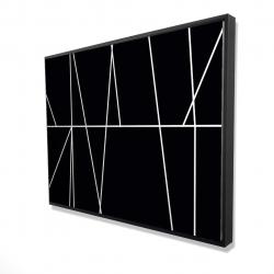 Framed 36 x 48 - 3D - White stripes on black background