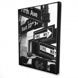 Framed 36 x 48 - 3D - New york city signs in front of an appartment
