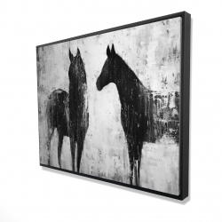 Framed 36 x 48 - 3D - Black and white horses