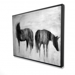 Framed 36 x 48 - 3D - Horses silhouettes in the mist