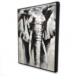 Framed 36 x 48 - 3D - Grayscale elephant