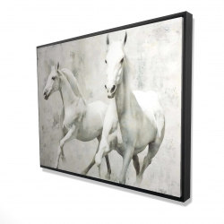 Framed 36 x 48 - 3D - Two white horse running