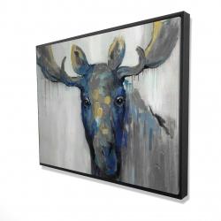 Framed 36 x 48 - 3D - Blue moose