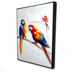 Framed 36 x 48 - 3D - Parrots on a branch