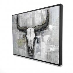 Framed 36 x 48 - 3D - Bull skull on an industrial background