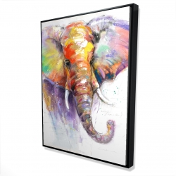 Framed 36 x 48 - 3D - Beautiful and colorful elephant