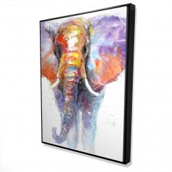Framed 36 x 48 - 3D - Colorful walking elephant