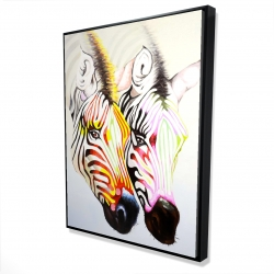 Framed 36 x 48 - 3D - Couple of colorful zebras