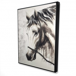 Framed 36 x 48 - 3D - Alpha the white horse