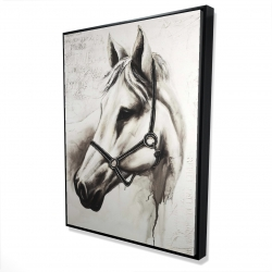 Framed 36 x 48 - 3D - Flicka the white horse