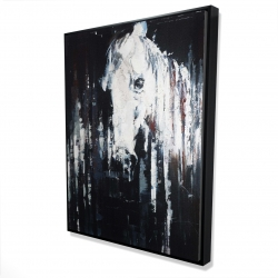 Framed 36 x 48 - 3D - Abstract horse on black background