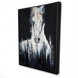 Framed 36 x 48 - 3D - Abstract white horse on black background