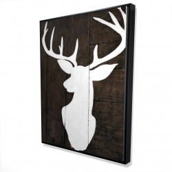 Framed 36 x 48 - 3D - Silhouette of a deer on wood