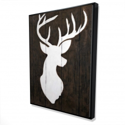 Framed 36 x 48 - 3D - White silhouette of a deer on wood