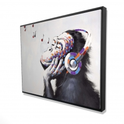 Framed 36 x 48 - 3D - Monkey listening music