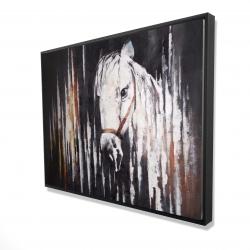 Framed 36 x 48 - 3D - White horse in the dark