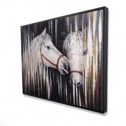 Framed 36 x 48 - 3D - Two white horses kissing