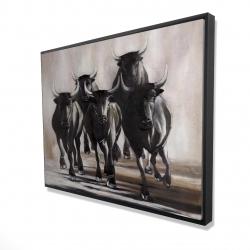 Framed 36 x 48 - 3D - Group of running bulls