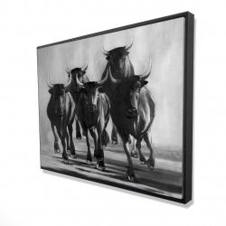 Framed 36 x 48 - 3D - Group of bulls at galops