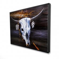 Framed 36 x 48 - 3D - Hanged skull on a wood wall