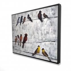 Framed 36 x 48 - 3D - Colorful birds on branches
