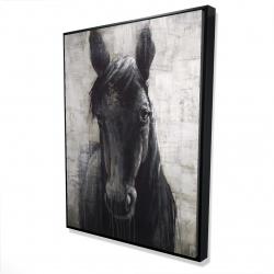 Framed 36 x 48 - 3D - Black horse