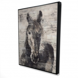 Framed 36 x 48 - 3D - Abstract horse with typography