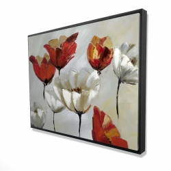 Framed 36 x 48 - 3D - Abstract red and white flowers