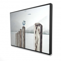 Framed 36 x 48 - 3D - Seagull at the marina