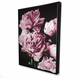Framed 36 x 48 - 3D - Pink peonies