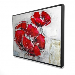 Framed 36 x 48 - 3D - Abstract and texturized red flowers