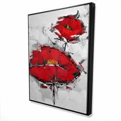 Framed 36 x 48 - 3D - Texturized red poppies