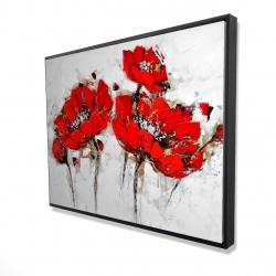 Framed 36 x 48 - 3D - Abstract poppy flowers
