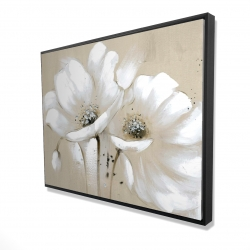 Framed 36 x 48 - 3D - White abstract wild flowers