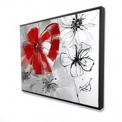Framed 36 x 48 - 3D - Red & gray flowers