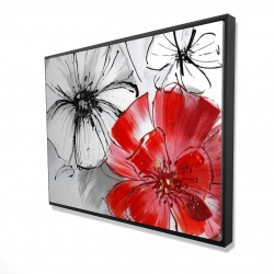 Framed 36 x 48 - 3D - Red & white flowers sketch
