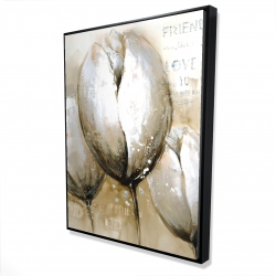 Framed 36 x 48 - 3D - Three tulips with typography