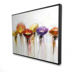 Framed 36 x 48 - 3D - Multiple colorful abstract flowers