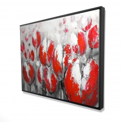 Framed 36 x 48 - 3D - Abstract red tulips