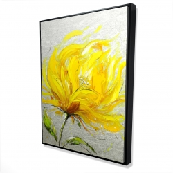 Framed 36 x 48 - 3D - Yellow fluffy flower