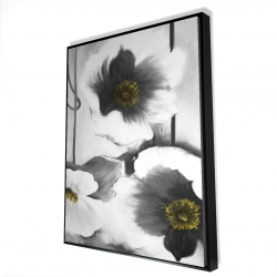 Framed 36 x 48 - 3D - Black and white flowers
