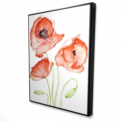 Framed 36 x 48 - 3D - Watercolor poppies