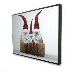 Framed 36 x 48 - 3D - Three christmas gnomes
