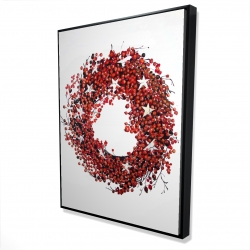 Framed 36 x 48 - 3D - Red berry wreath