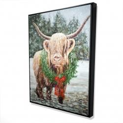 Framed 36 x 48 - 3D - Highland christmas cow