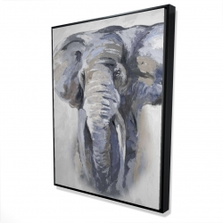 Framed 36 x 48 - 3D - Pastel blue elephant