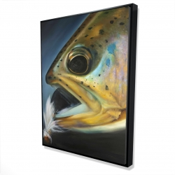 Framed 36 x 48 - 3D - Golden trout with fly fishing flie