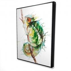 Framed 36 x 48 - 3D - Watercolor chameleon