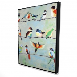 Framed 36 x 48 - 3D - Small abstract colorful birds