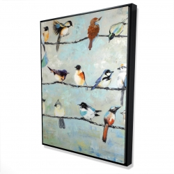 Framed 36 x 48 - 3D - Small colorful birds